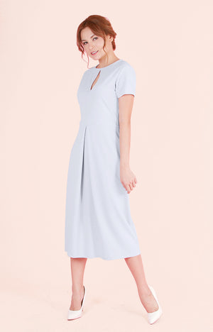 Inverted Box Pleat Dress Melanie-Grey