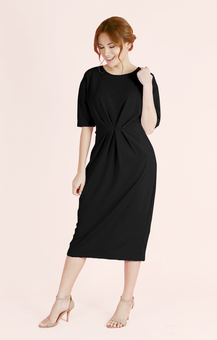 Pleated Waist Dress Olivia-Black
