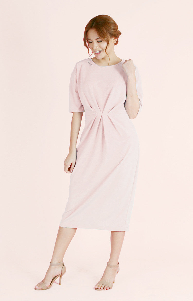 Pleated Waist Dress Olivia-Blush