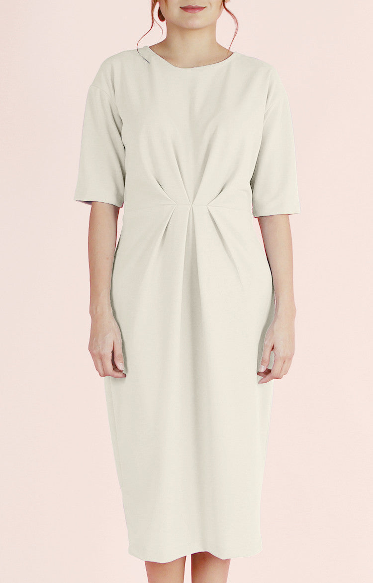 Pleated Waist Dress Olivia-Cream