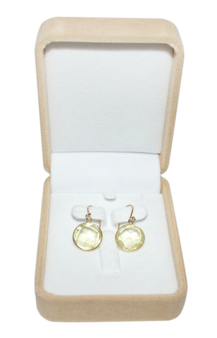 Lemon Quartz Single Hook Drop Earrings - Circle