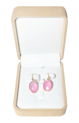 Salmon Pink Chalcedony Single Hook Drop Earrings - Oval