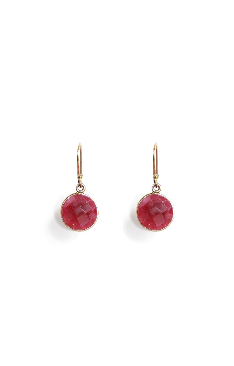 Round Rubies Single Hook Drop Earrings