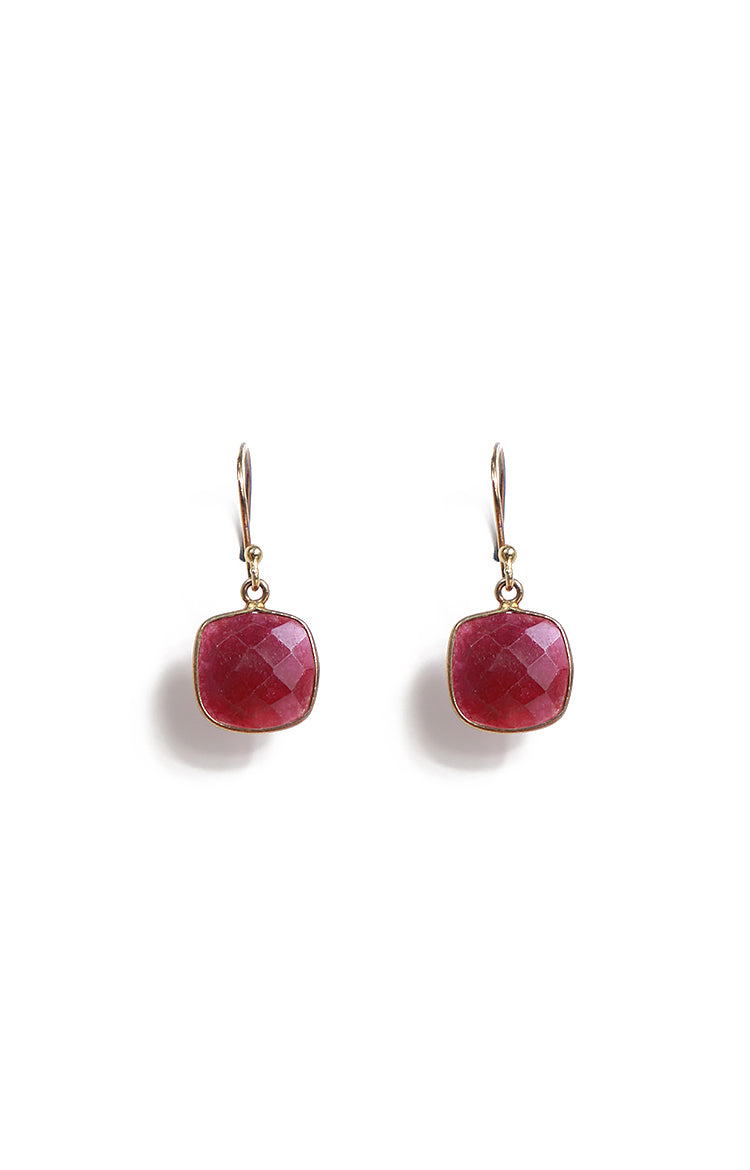 Square Rubies Single Hook Drop Earrings