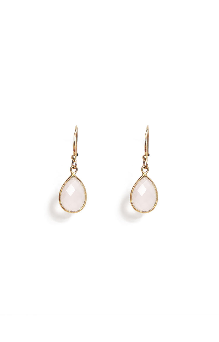 Teardrop Rose Quartz Single Hook Drop Earrings
