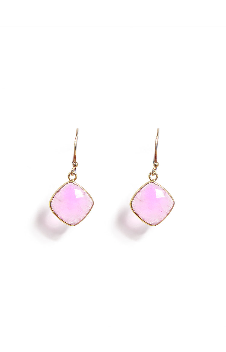 Square Salmon Pink Chalcedony Single Hook Drop Earrings