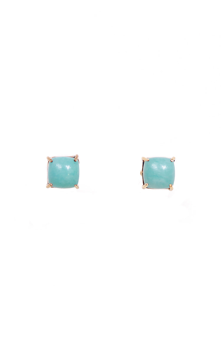Square Amazonite & Oval Pink Opal Separates Earrings