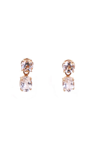 Round & Oval White Topaz Separates Earrings