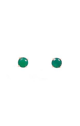 Round & Oval Green Agate Separates Earrings