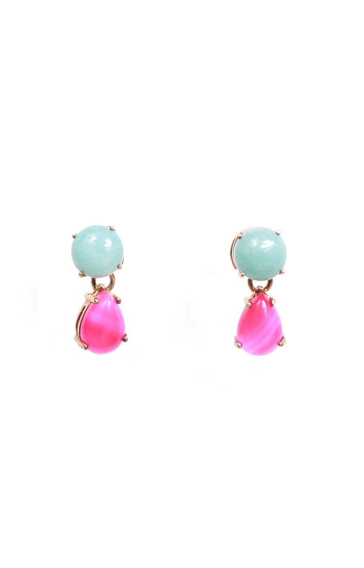 Round Amazonite & Teardrop Pink Agate Separates Earrings