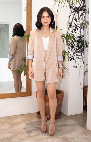 George Blazer and Shorts Set in  Beige