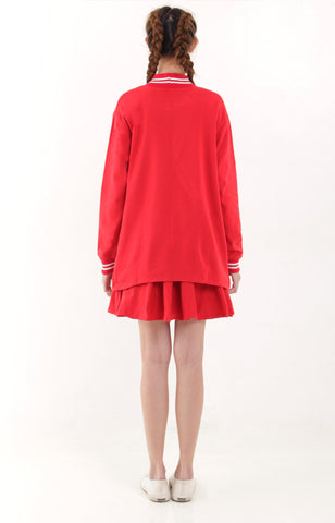 Arin Girl Overlap Sweater -Red