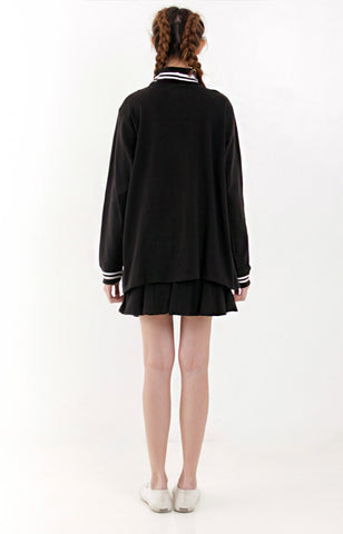 Arin Girl Overlap Sweater -Black