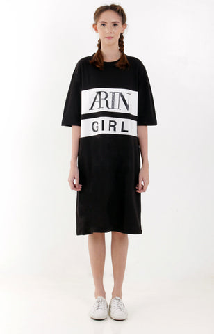 Arin Girl Tee Dress -Black