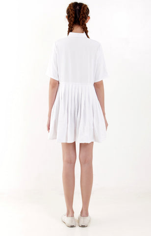 Pleated Shirt Dress -White