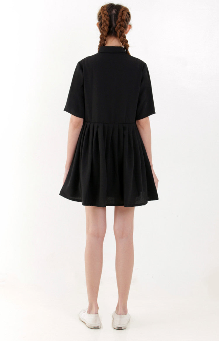 Pleated Shirt Dress -Black