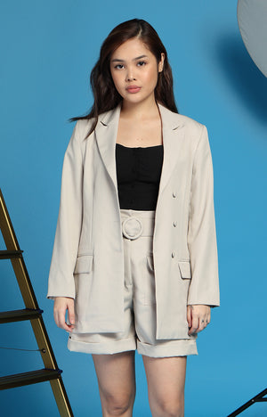Bea Marin Blazer and Shorts Set in Oat Beige