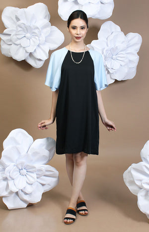 Alexa Two-Tone Dress -Baby Blue & Black