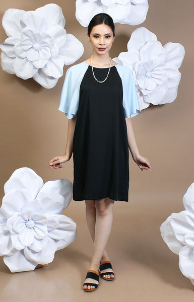 Alexa Two-Tone Dress - Baby Blue & Black