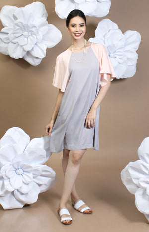 Alexa Two-Tone Dress - Blush & Gray