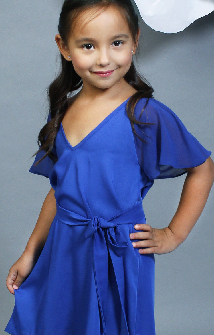 Little Lady's Sophia Belted Dress -Blue