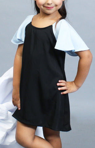 Little Lady's Alexa Two-Tone Dress -Baby Blue & Balck