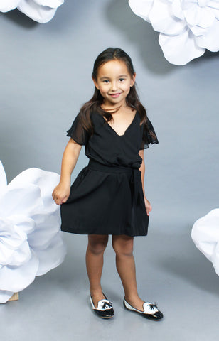 Little Lady's Sophia Belted Dress -Black