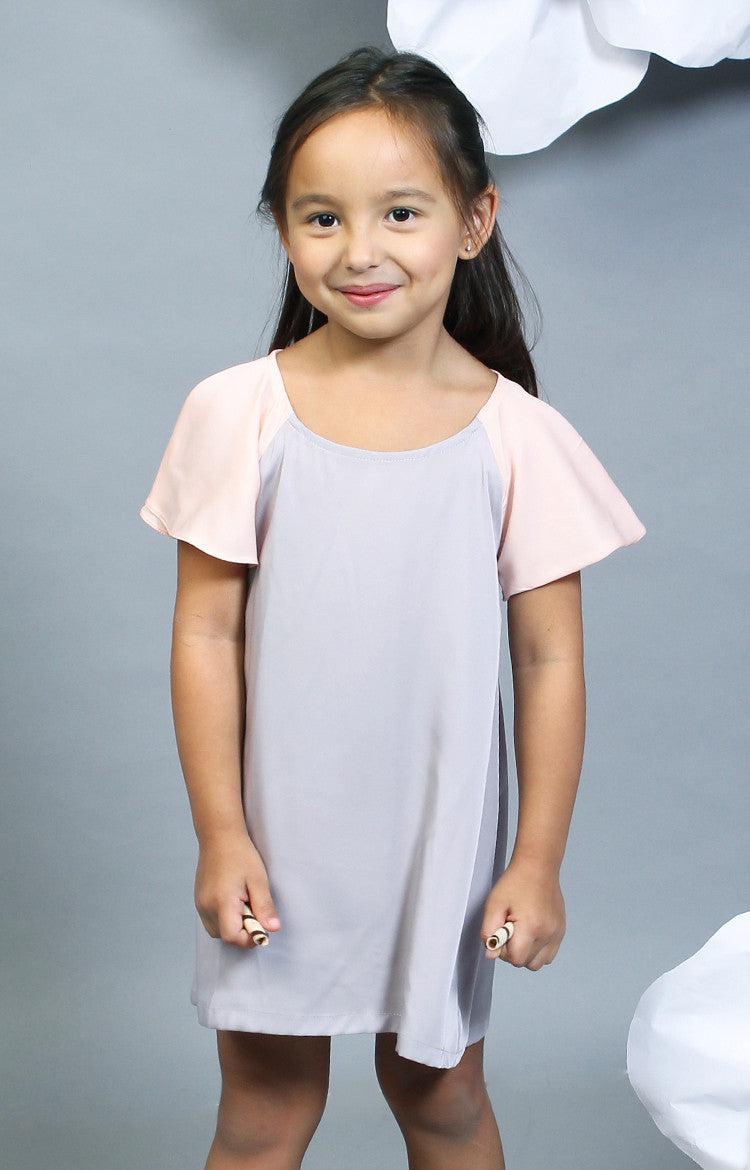 Little Lady's Alexa Two-Tone Dress -Pink & Gray