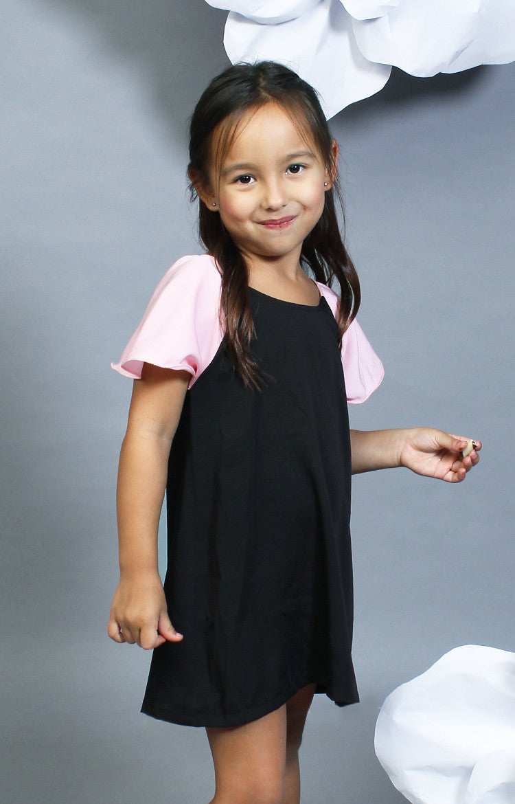 Little Lady's Alexa Two-Tone Dress -Pink & Black