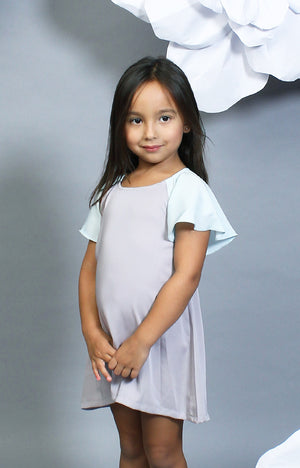 Little Lady's Alexa Two-Tone Dress -Mint & Gray