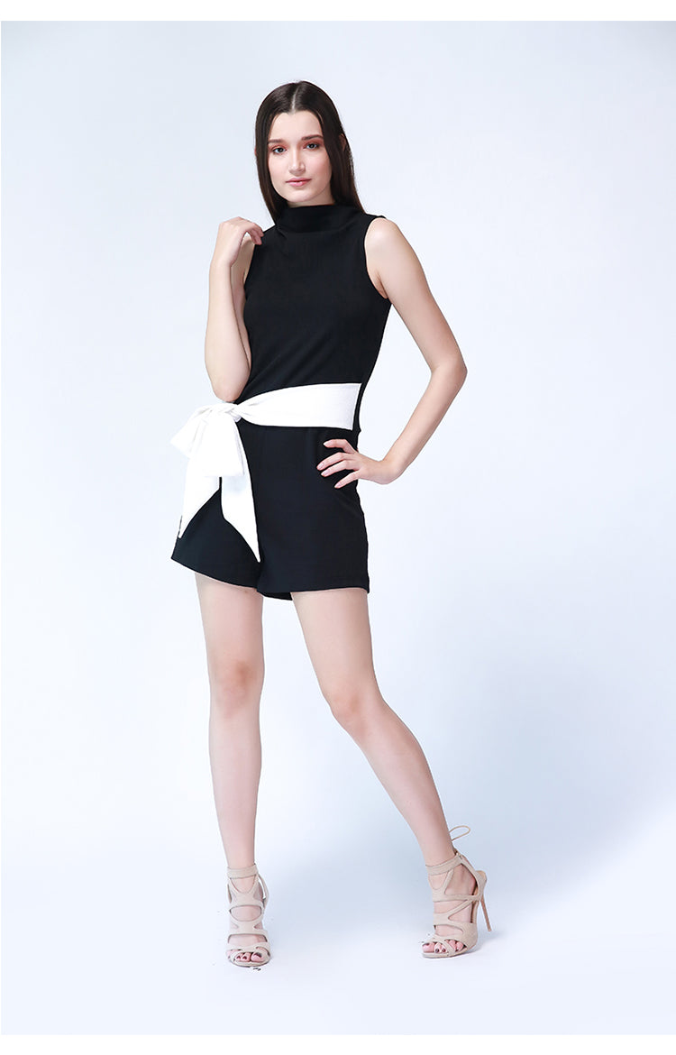 Alexia Belted Playsuit in Black