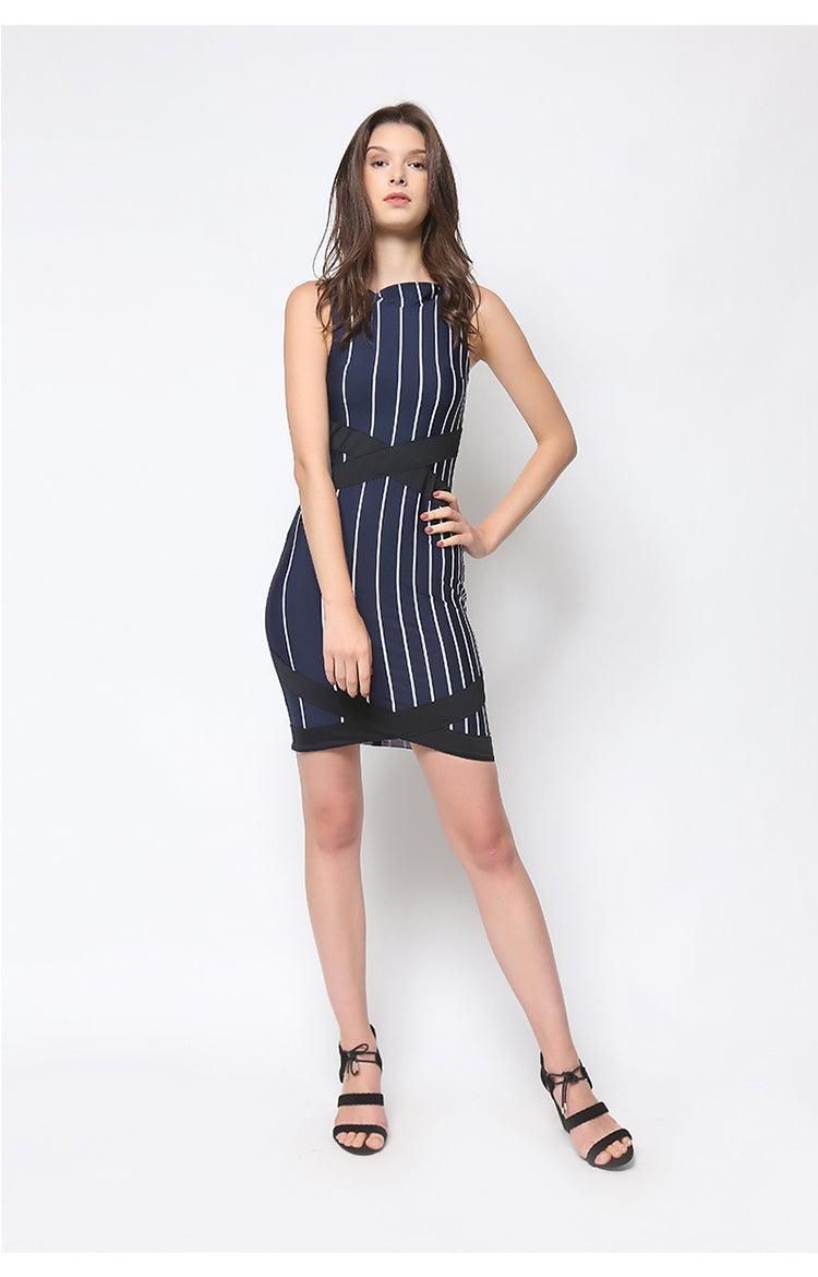 Zia Dress in Navy Blue