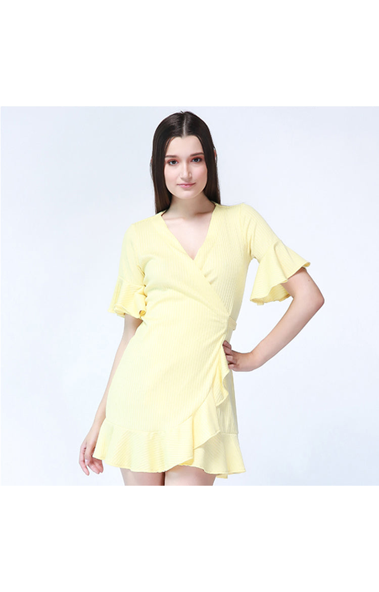 Sydney Ruffle Wrap Dress in Yellow