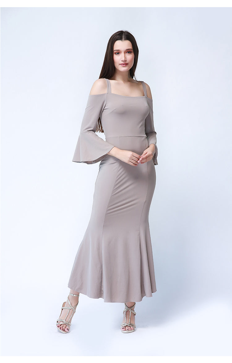 Roxanne Maxi Formal Dress in Beige