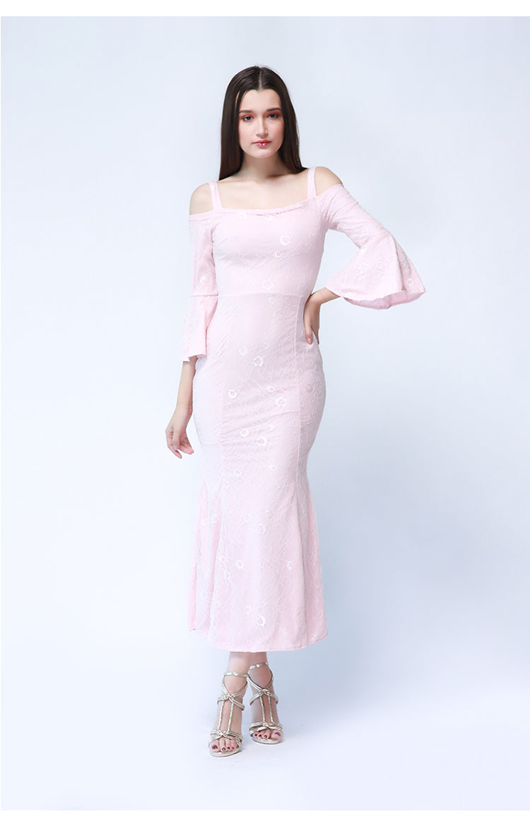 Roxanne Maxi Formal Dress in Pink Lace