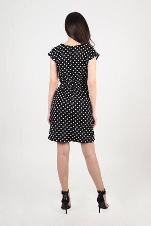 Krystal Dress with Wrap Skirt in Polka Dot
