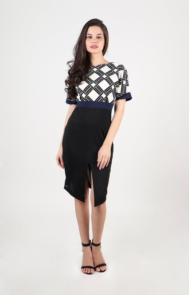 Ophelia Boat Neck Dress in Black/White Check Print