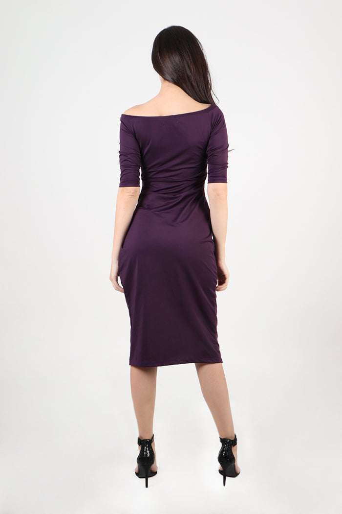 Divina Off Shoulder Draped Midi Dress in Purple