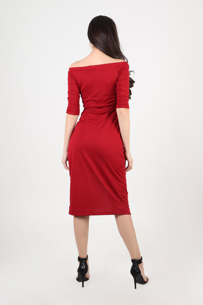 Divina Off Shoulder Draped Midi Dress in Red