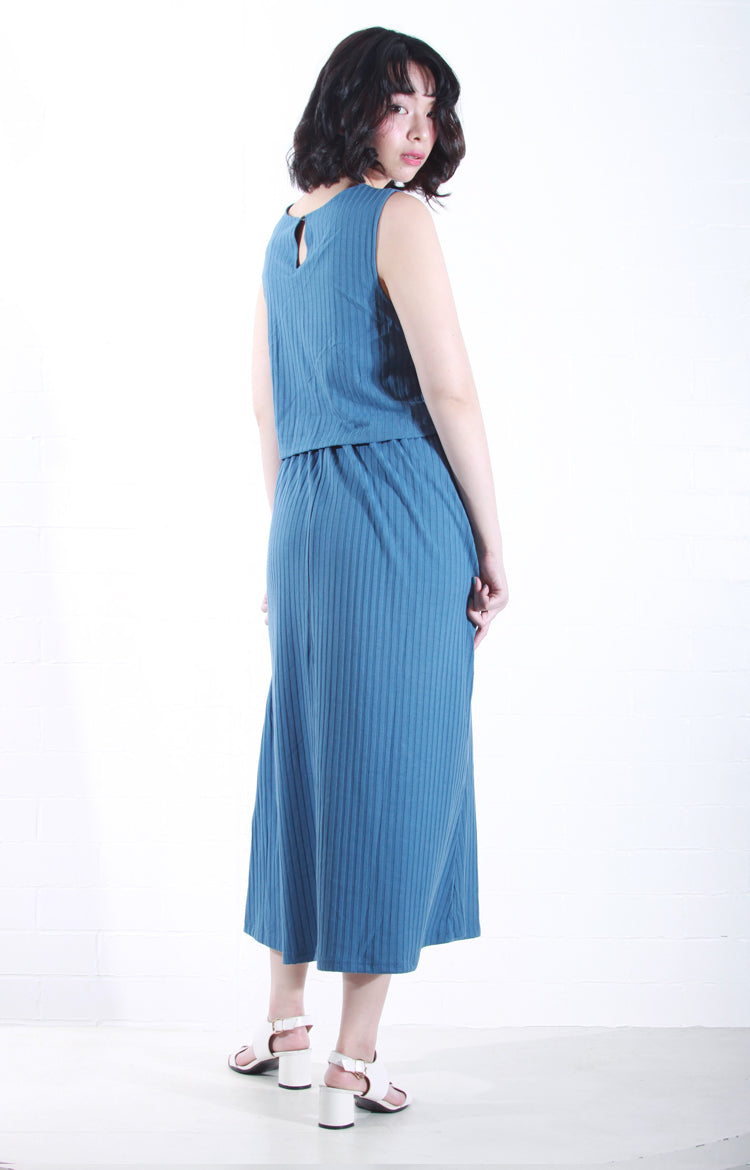 Sleeveless Knit Maxi Dress in Blue