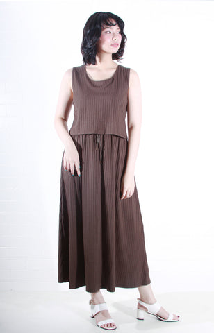 Sleeveless Knit Maxi Dress in Olive Green