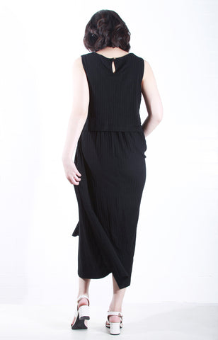 Sleeveless Knit Maxi Dress in Black