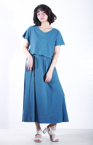 Knit Maxi Dress with Sleeves in Blue