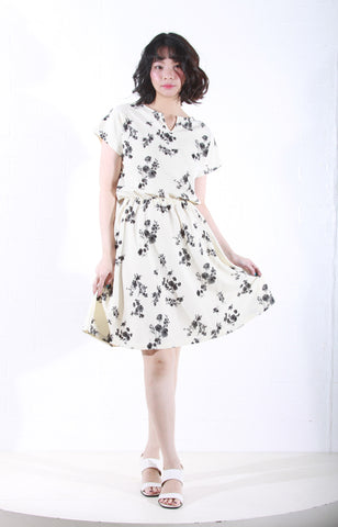 Floral Knit Dress in Cream