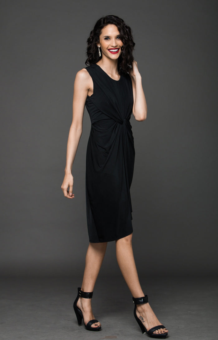 Cocktail Hour Silhouette Knot Dress - Black