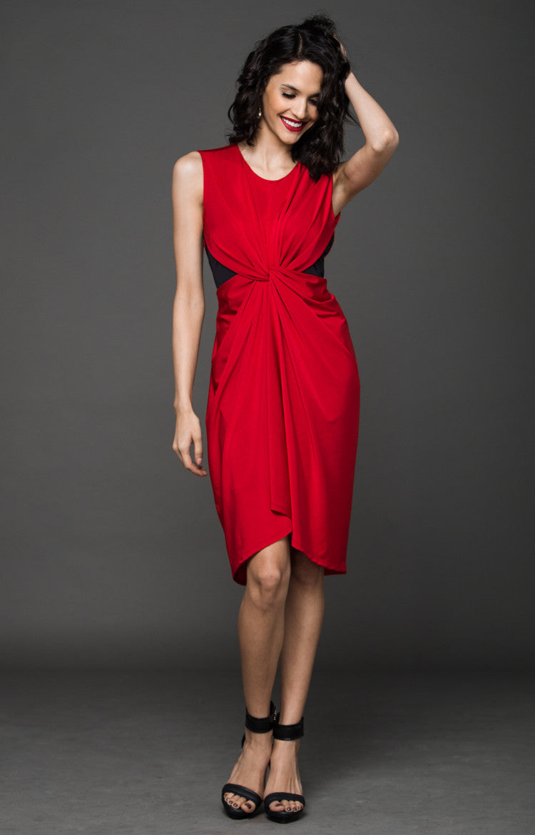 COCKTAIL HOUR SILHOUETTE KNOT DRESS - RED