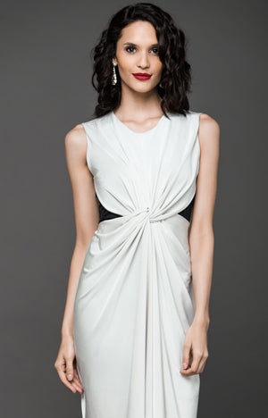 Cocktail Hour Silhouette Knot Dress - Cream