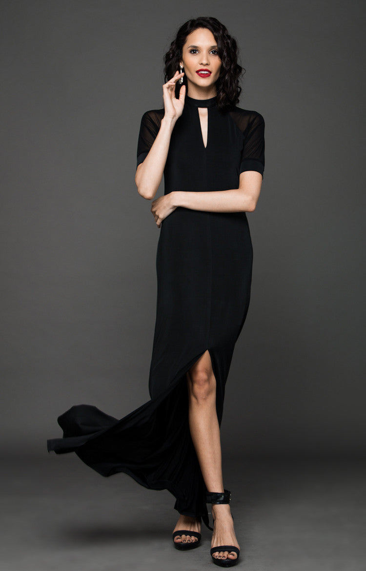 BLACK TIE RAGLAN MAXI DRESS - BLACK