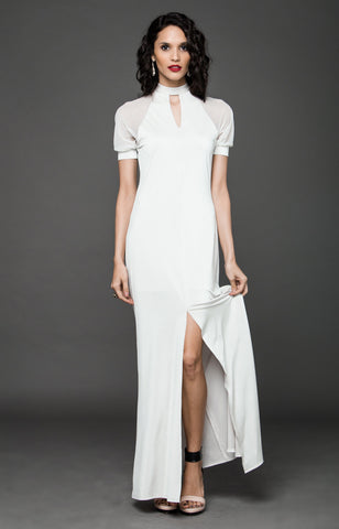 BLACK TIE RAGLAN MAXI DRESS - CREAM