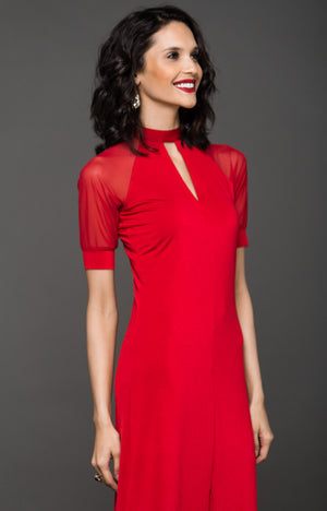 BLACK TIE RAGLAN MAXI DRESS - RED